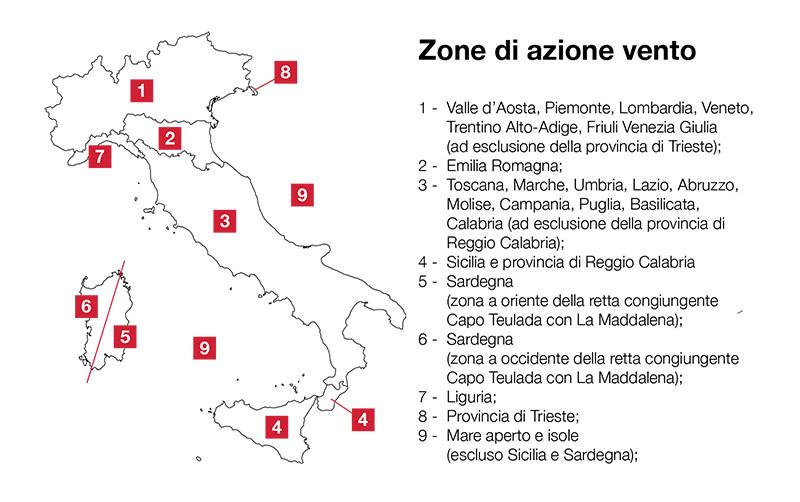 Zone di azione del vento Italia